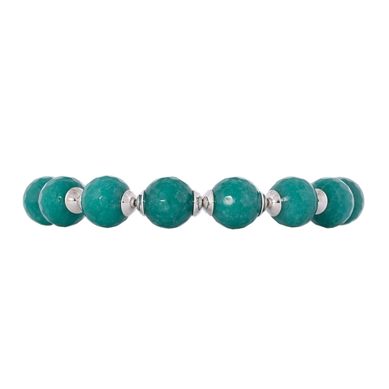 Picture of Forever Bold – Natural Stone Bracelet with Malaysian Jade, Swarovski Crystal and Silver Tone