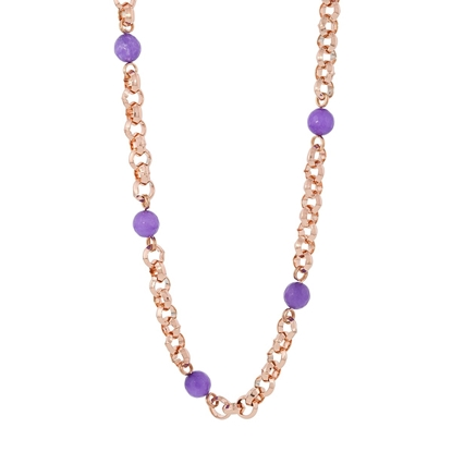 Picture of Forever Bold – Natural Stone Necklace with Malaysian Jade Beads and Rose Gold Chain